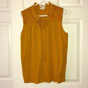 Time & Tru mustard sleeveless dress top size L